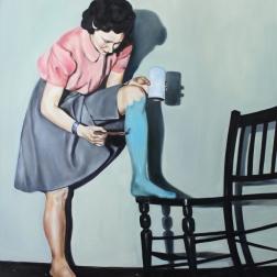 Dressing room, 2016, oil on mdf-board , 129 x 115 cm