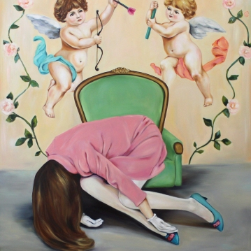 Desperate measures, 2017, oil on mdf-board , 130 x 120 cm