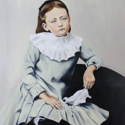Emily's eyes were blue, 2016, oil on mdf-board, 110 x 90 cm