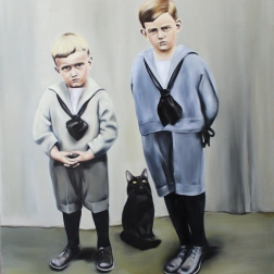 Wear your new blue shoes, 2015, oil on mdf-board, 130 x 110 cm